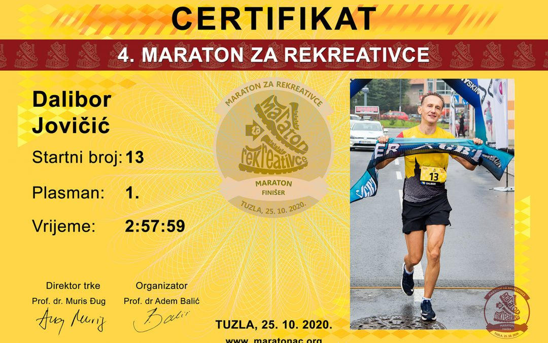 Preuzmite diplome za kategoriju maraton
