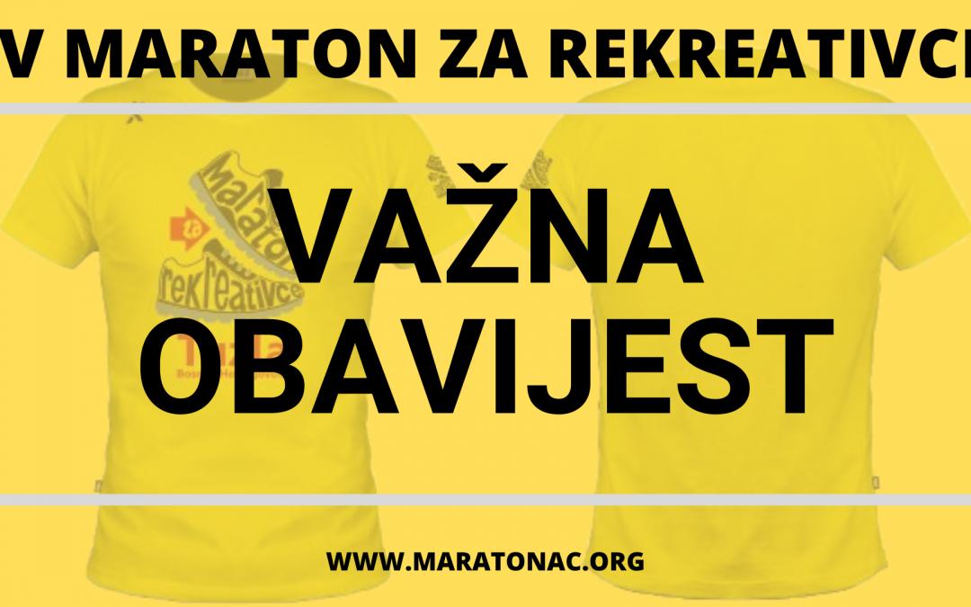 VAŽNA OBAVIJEST: Obavezno pročitati prije starta utrke!