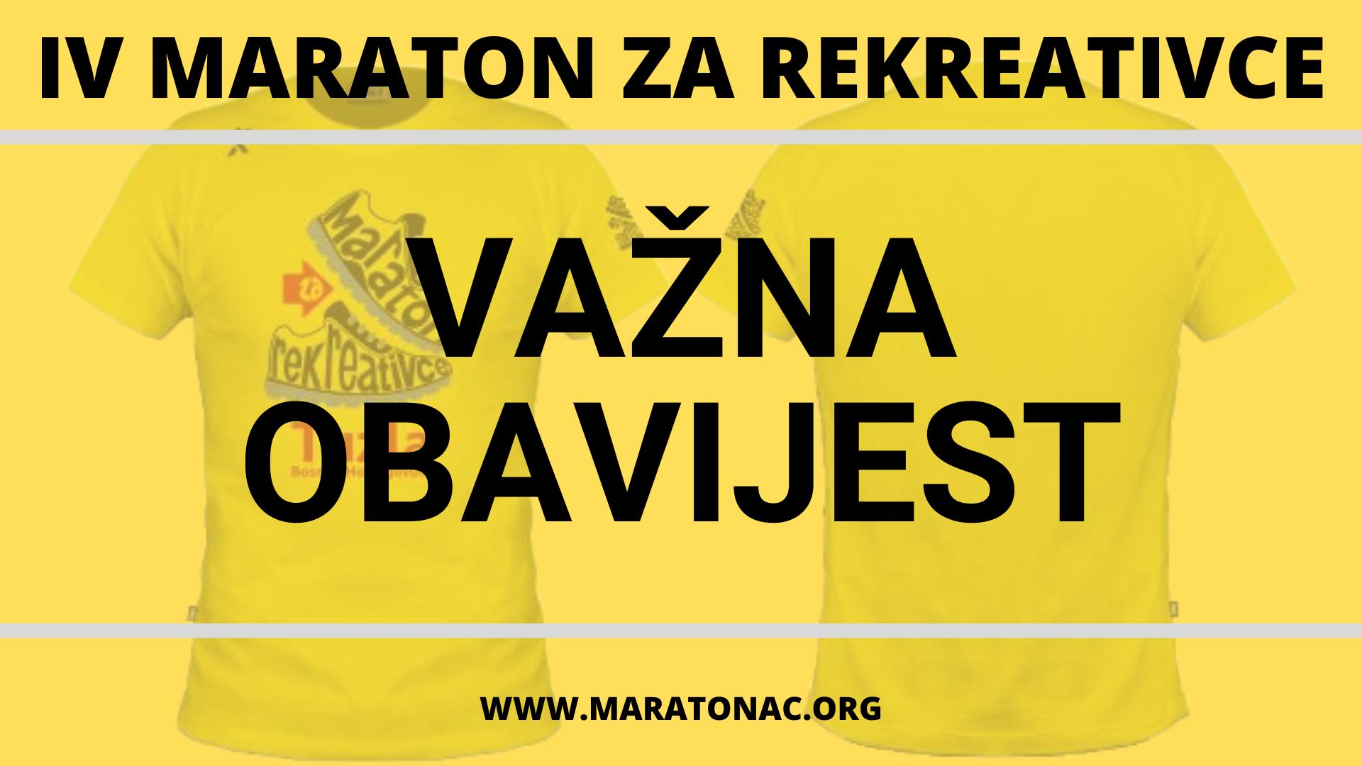 """VAŽNE INFORMACIJE: Za takmičare i učesnike """"IV Maratona za rekreativce – Tuzla 2020"""""""