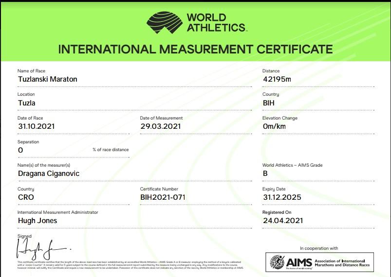 Certifikovana i priznata staza narednih 5 god na 5km, 10km, 21km i 42km